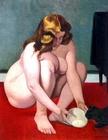 femme offrant du lait au chat - 1919